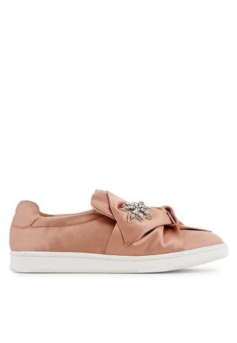 Minelli pink F51 105/SAT Embellished Satin Bow Slip On Sneakers - Urbaine MI352SH0FJTESG_1