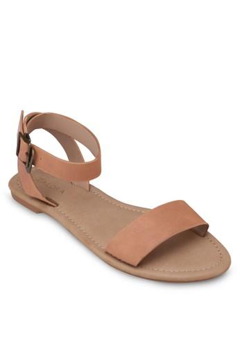仿皮繞zalora 包包評價踝帶平底涼鞋, 女鞋, 涼鞋
