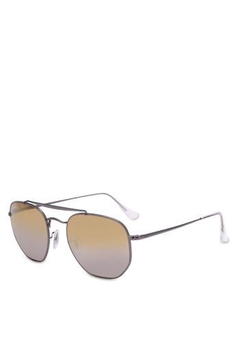Ray-Ban grey Marshal RB3648 Polarized Aviator Sunnies RA896GL0RZ54MY_1