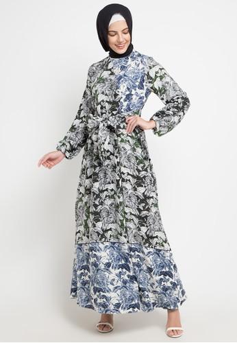 Allea by Itang Yunasz green and multi Ulfira Dress 9D45BAA30627BCGS_1