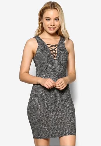 繫帶V 領esprit outlet 桃園羅紋貼身連身裙, 服飾, 服飾