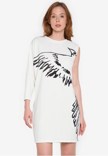NEW ESSENTIALS white John Herrera Asymmetric Printed Jersey Dress NE239AA0JD39PH_1