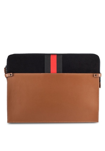ZALORA black and brown Mixed Material Grosgrain Document Folio Bag FF276AC3F8EEF8GS_1