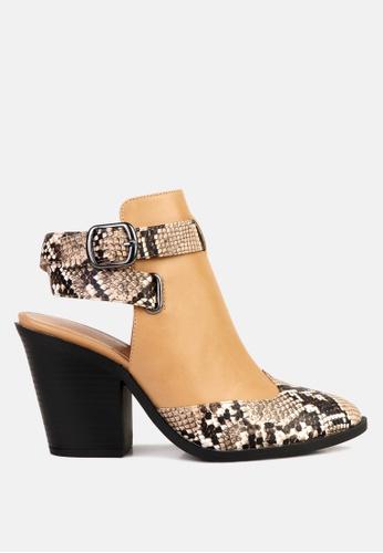 London Rag 褐色 蛇纹包头露跟高跟鞋 2CAD6SH919AEE0GS_1