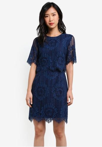 ZALORA blue Double Layer Pencil Dress 91069AAEA97397GS_1
