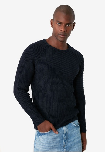 Trendyol navy Texture Panel Crew Neck Knitted Sweater 9C3A0AAEEC40AFGS_1