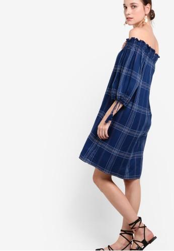 格紋露肩七分袖連身裙, 服zalora taiwan 時尚購物網鞋子飾, 洋裝