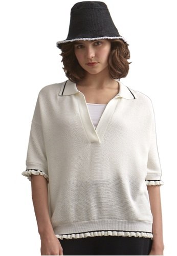 22 Factor white Riley Collared Knit Top 7478EAA389EC01GS_1