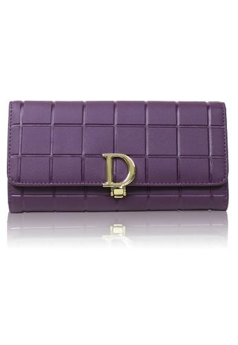 Dazz purple Calf Leather Cube D Wallet - Purple DA408AC0RA21MY_1