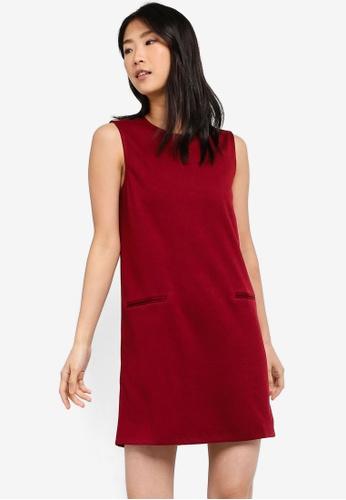 ZALORA BASICS red Basic Pocket Details Shift Dress 3B298AA136BE0AGS_1