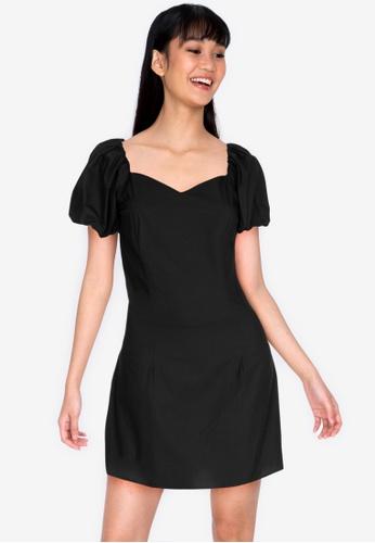 ZALORA BASICS 黑色 Puff Sleeve Mini Dress 80B92AAE32CCE3GS_1