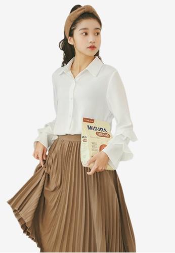 Shopsfashion white Ruffles Sleeve Shirt in White SH656AA70UPHSG_1