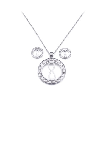 Glamorousky silver Fashion and Simple Figure-of-eight Geometric Round 316L Stainless Steel Necklace and Stud Earrings Set A2D8EAC66BE126GS_1