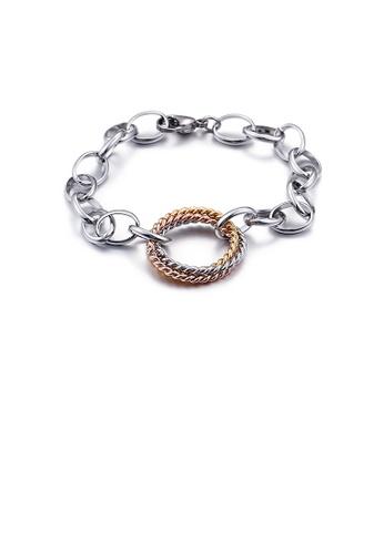 Glamorousky silver Fashion and Simple Three-color Twist Geometric Circle 316L Stainless Steel Bracelet B0F0DAC6155E9FGS_1