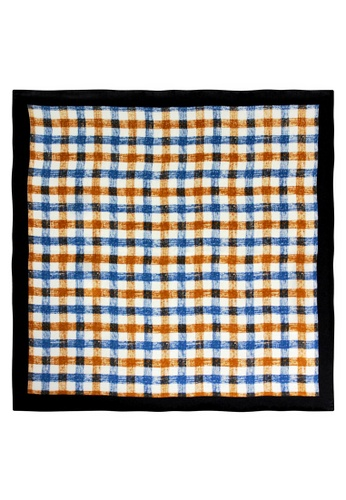 Red Stag And Hind blue Red Stag And Hind Brown and Blue Checked Silk Pocket Square B5E81AC54CC152GS_1