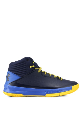 Under Armour blue and navy UA Lockdown 2 Shoes UN337SH0SU45MY_1