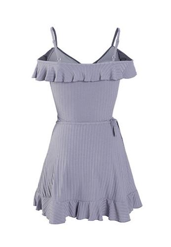 ZITIQUE blue Women's Solid Color Ruffled One-piece Swimsuit (Two-piece Set) - Blue 74497US3329417GS_1