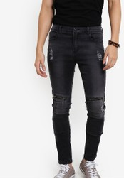 Flesh Imp 黑色 Damon Zipper Denim Jeans FL064AA00VWLMY_1