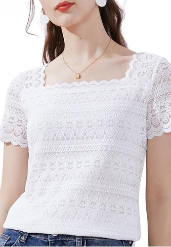 HAPPY FRIDAYS 白色 蕾絲方領上衣 JW CZ-LA06776 2DC6FAA47B641FGS_1