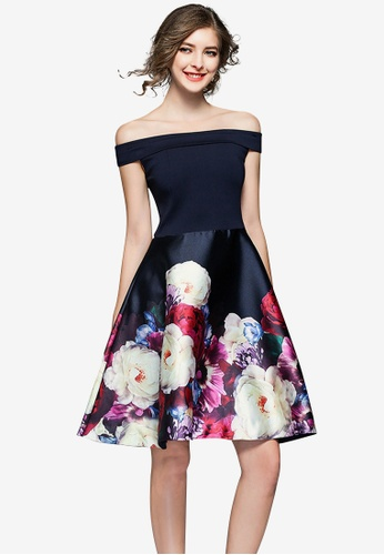 Sunnydaysweety multi Off Shoulder Flora Pattern One Piece Dress FEABFAA364B046GS_1