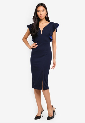 WALG navy Plunge Midi Dress With Frill Sleeves 1F376AAA8E25B1GS_1