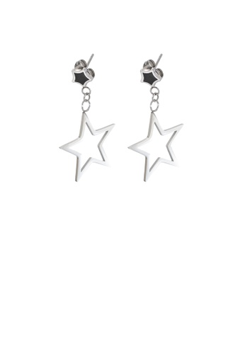Glamorousky silver Simple Personality Hollow Star 316L Stainless Steel Earrings 608EBAC3BAC336GS_1