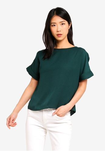ZALORA BASICS green Basic Boatneck Oversized Top 9E832AAA56AF04GS_1
