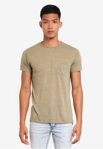 !Solid green Nicolo Textured Pocket T-Shirt 1DED9AAE2AC02CGS_1