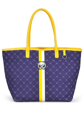 LULUGIFT yellow and purple Ice Hockey Team Logo Tote Bag Yellow Circle LU989AC30BVDMY_1