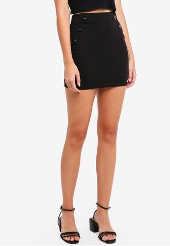 Miss Selfridge black Petite Black Button Mini Bodycon Skirt E0881AA55CE92FGS_1