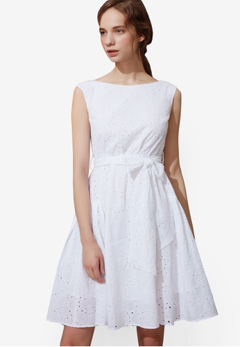 Hopeshow white Broderie Flare Dress CE9BFAA165658AGS_1