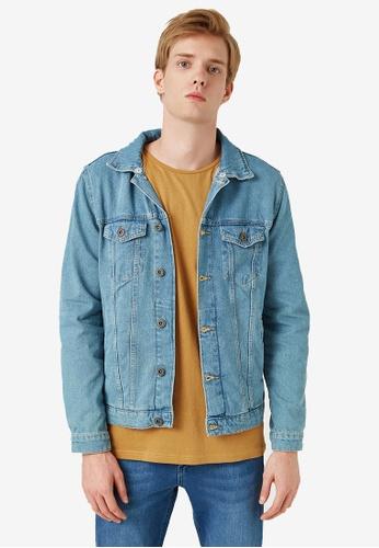KOTON blue Pocket Jean Jacket C39C0AAF704231GS_1