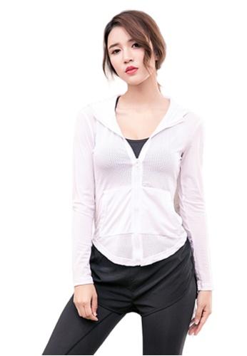 B-Code white ZYG3074-Lady Quick Drying Running Fitness Yoga Sports Jacket -White 13895AA646575DGS_1