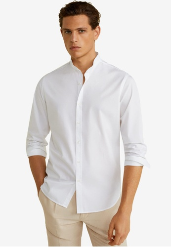 Mango Man 白色 Slim Fit Mao Collar Shirt 2ECB4AA8AA0302GS_1