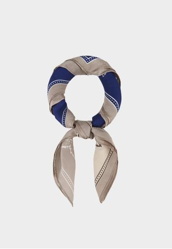 Pomelo blue Multi Tone Paisley Silk Scarf - Blue 7705EAA9B55934GS_1