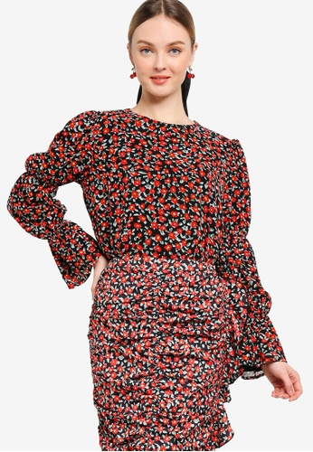 Lubna black and red LAYERED PUFF SLEEVE TOP 45B91AA9B09876GS_1