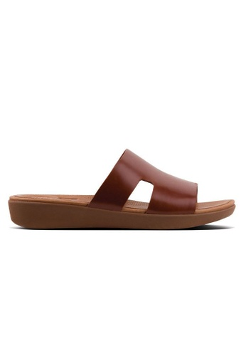 1444c7b3495f81 FitFlop brown Fitflop H-Bar Leather Slide Sandals (Cognac)  7B637SHAA48336GS 1. CLICK TO ZOOM