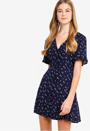 Something Borrowed navy Button Down Fit And Flare Dress AF7D9AAF964968GS_1
