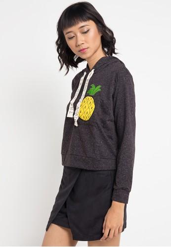 Lavabra black Pineapple Embellished Hooded Top LA387AA0VMQLID_1