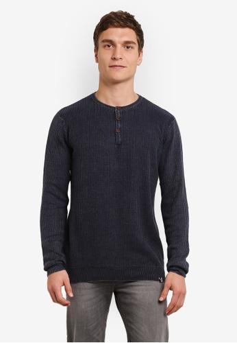 Indicode Jeans blue and navy Esteban Light Knit Grandad Sweater IN815AA0ROLAMY_1