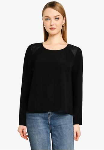 Vero Moda black Serena Long Sleeve Detail Top 04E18AA4624646GS_1