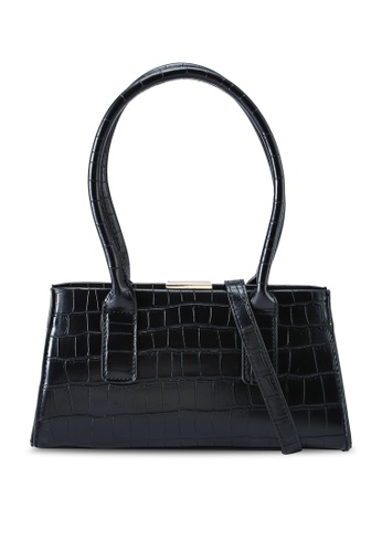 Red's Revenge black Claudia Croc Oblong Top Handle Bag 3A28BAC11E6DE9GS_1