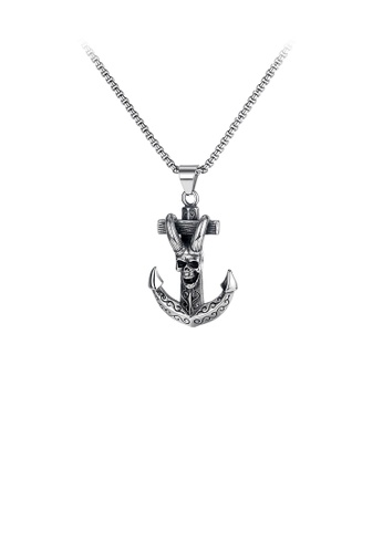 Glamorousky silver Fashion Vintage Anchor Claw Skull 316L Stainless Steel Pendant with Necklace 063B8ACFF2C0F6GS_1