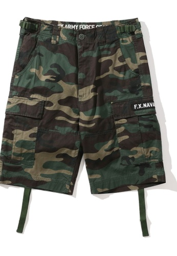 Fingercroxx green Embroidered camo print cargo shorts BEAFEAAD7280F4GS_1