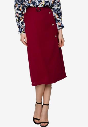 ZALORA red Overlap Pocket Detail Skirt 9985CAA050AD0AGS_1