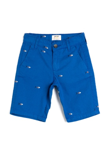 KOTON blue Fishy Bermuda Shorts 3FAB8KA8ADF351GS_1