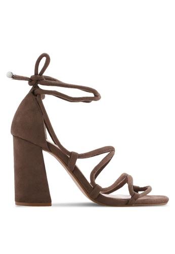 ZALORA 褐色 露趾繞踝粗跟鞋 C63EESH3AABF87GS_1