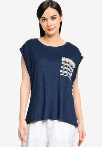 Desigual navy Back Mesh T-shirt 0DE80AA77F1EC7GS_1