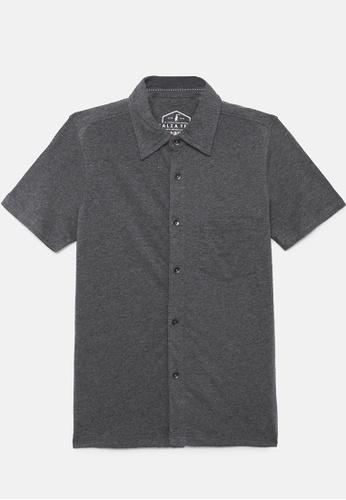 ZALZA grey Mike 100% Organic Cotton Boys Full Open Short Sleeve Tee - Smoke D7812KA2C1C41BGS_1