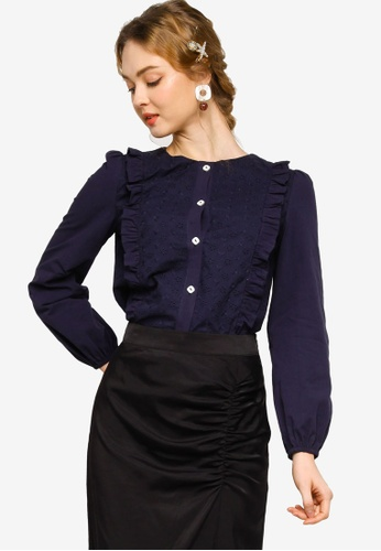 Lubna navy Ruffles lace blouse A5981AA4D506FBGS_1